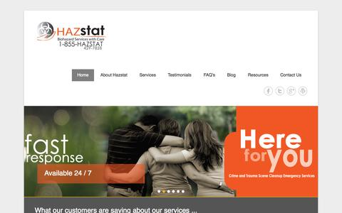 Screenshot of Home Page Menu Page hazstat.com - 24/7 Biohazard Cleaning and Odor Removal Services - captured Sept. 26, 2014