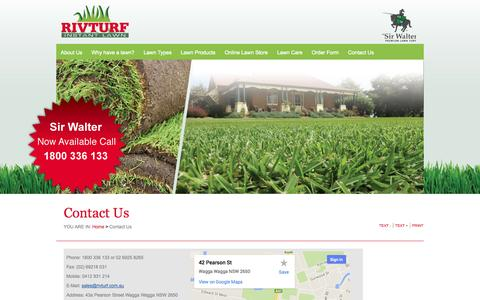 Screenshot of Contact Page rivturf.com.au - Riv Turf - Quality Turf and Instant Lawn, Melbourne, Wagga Wagga | Contact Us - captured Sept. 30, 2014