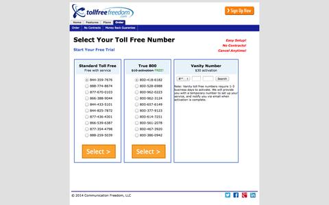 Screenshot of Signup Page tollfreefreedom.com - Select Your Toll Free Number - captured Oct. 7, 2014
