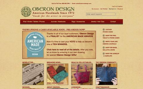 Screenshot of Home Page oberondesign.com - Leather iPad, Kindle, iPhone and Journal Cases and Covers - captured Sept. 19, 2014