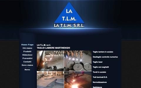 Screenshot of Home Page latlm.com - LA T.L.M. s.r.l. taglio e lavorazioni lamiere ossitaglio - captured Oct. 14, 2015