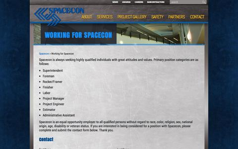 Screenshot of Jobs Page spacecon.com - Working for Spacecon | Spacecon - captured Oct. 26, 2014
