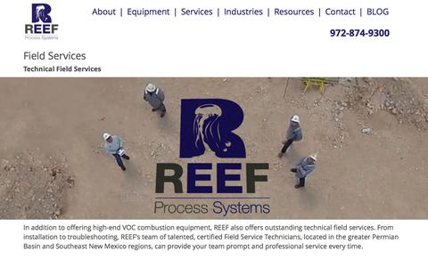 Screenshot of Services Page reefps.com - REEF » Field Services - captured Feb. 14, 2016