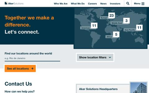 Screenshot of Contact Page akersolutions.com - Contact | Aker Solutions - captured Nov. 19, 2019