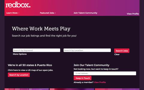 Screenshot of Jobs Page redbox.com - Jobs at Redbox - captured Aug. 7, 2019