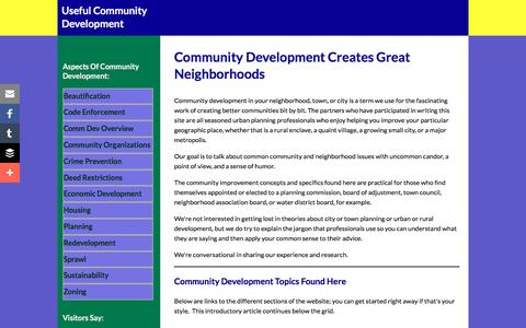 Screenshot of Home Page useful-community-development.org - Community Development Advice for Neighborhood Leaders - captured June 22, 2016