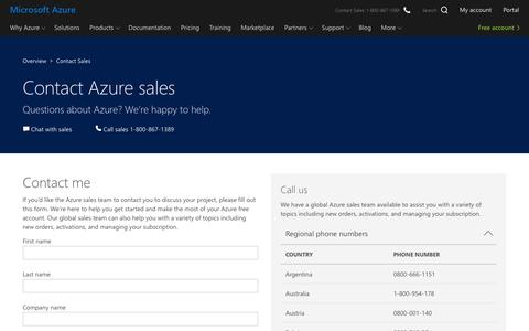 Screenshot of Contact Page microsoft.com - Contact Sales | Microsoft Azure - captured May 10, 2018