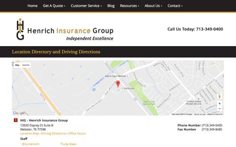 Screenshot of Locations Page higtexas.com - Henrich Insurance Group Locations and Driving Directions - captured Sept. 26, 2016