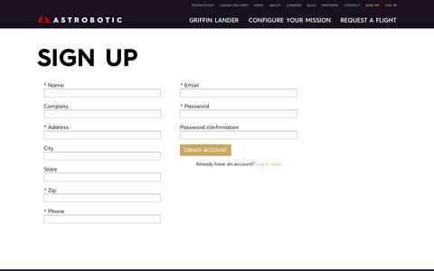 Screenshot of Signup Page astrobotic.com - Sign Up | Astrobotic - captured Sept. 30, 2014