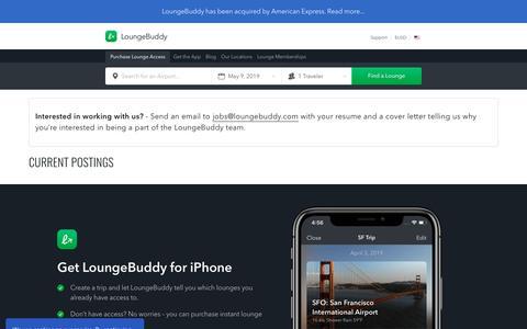 Screenshot of Jobs Page loungebuddy.com - Jobs | LoungeBuddy - captured May 9, 2019