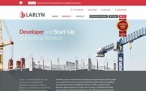Screenshot of Developers Page larlyn.com - Developer and Real Estate Management by Larlyn Property Management Ltd. Serving Ontario, Alberta & B.C. - captured Sept. 27, 2018