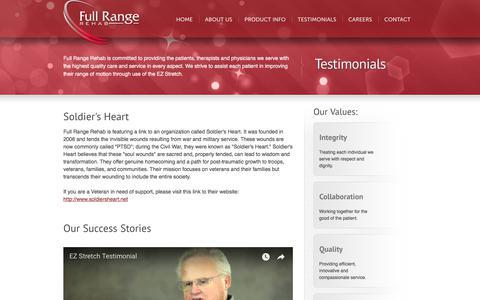 Screenshot of Testimonials Page fullrangerehab.com - Testimonials | EZ Stretch by Full Range Rehab - captured Sept. 3, 2018