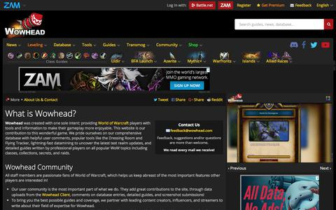 Screenshot of About Page wowhead.com - What is Wowhead? - Wowhead - captured Sept. 20, 2018
