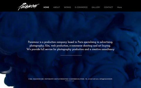 Screenshot of Home Page paramour.fr - Paramour - Photography and Film production Paris - E-commerce shooting - captured Sept. 27, 2014