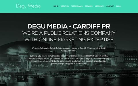 Screenshot of Home Page Contact Page degumedia.co.uk - Degu Media | Public Relations and Online Marketing | Cardiff - captured Sept. 26, 2014