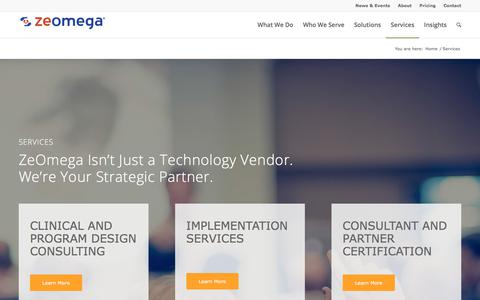 Screenshot of Services Page zeomega.com - ZeOmega Services - captured Dec. 12, 2017