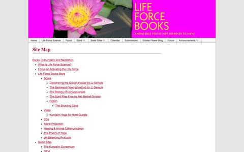 Screenshot of Site Map Page lifeforcebooks.com - Site Map, Guide to Life Force Books, JJ Semple's ideas - captured Sept. 24, 2014