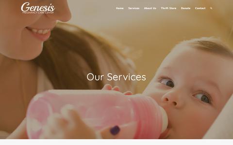 Screenshot of Services Page genpcc.org - Services – Genesis Pregnancy Care Center - captured Sept. 27, 2018