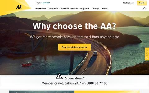 Screenshot of Home Page theaa.com - Breakdown cover, Insurance, Route Planner | AA - captured May 4, 2016