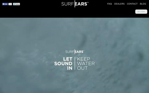 Screenshot of Home Page surfears.com - SurfEars® ear plugs protect your ears without affecting hearing and balance. - captured Sept. 25, 2014