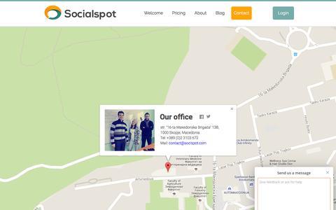 Screenshot of Contact Page soclspot.com - Contact  Socialspot - captured March 5, 2016