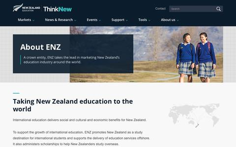 Screenshot of About Page enz.govt.nz - Taking New Zealand education to the world » Education NZ - captured June 28, 2017