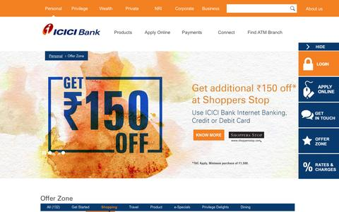 Screenshot of icicibank.com - Deals & Offers, Discount Coupons & Vouchers - ICICI Internet Banking - captured March 19, 2016