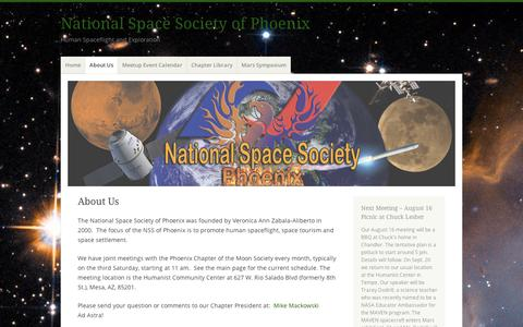 Screenshot of About Page wordpress.com - About Us | National Space Society of Phoenix - captured Sept. 12, 2014