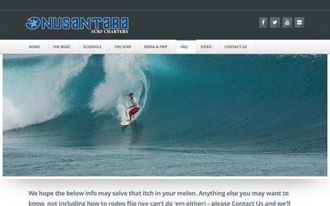 Screenshot of FAQ Page nusantarasurfcharters.com - FAQ | NUSANTARA Surf Charters - captured Dec. 4, 2015