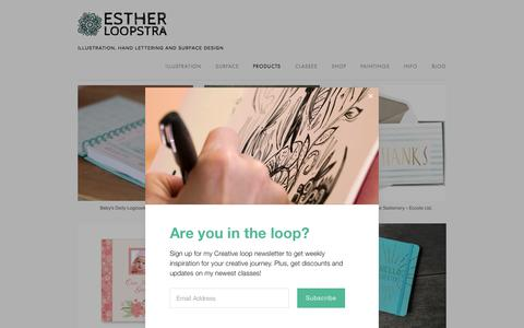 Screenshot of Products Page estherloopstra.com - Products — ESTHER LOOPSTRA - captured Aug. 22, 2017