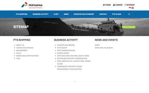 Screenshot of Site Map Page ptk-shipping.com - Sitemap – Pertamina Trans Kontinental - captured Oct. 15, 2016