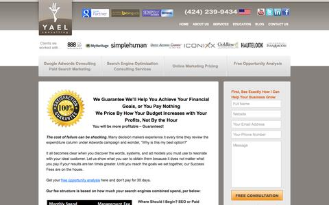 Screenshot of Pricing Page yaelconsulting.com - Online Marketing Pricing: Google Adwords and SEO Management Costs - captured Sept. 30, 2014