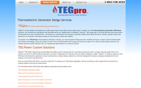 Screenshot of Services Page tegpro.com - Thermoelectric Generator (TEG) Services - TEGPRO Thermoelectric Generators and Thermoelectric Generator Modules - captured June 2, 2016
