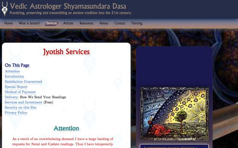 Screenshot of Services Page shyamasundaradasa.com - Jyotish Services Natal Charts Sprirtual Reading Prasna Horary Matchmaking Astrocartography Remedial Measures - captured Jan. 13, 2016