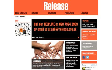 Screenshot of Services Page release.org.uk - Services | Release - captured Oct. 26, 2014