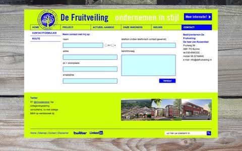 Screenshot of Contact Page defruitveiling.nl - Contact | Bedrijventerrein De Fruitveiling! Kantoren en bedrijfspanden in Bunnik, regio Utrecht, Odijk en Zeist. - captured Sept. 30, 2014