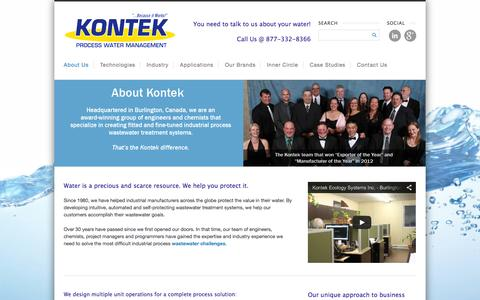 Screenshot of About Page kontekecology.com - About Us - Kontek - Process Water Management - captured Oct. 6, 2014