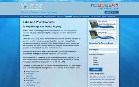 Screenshot of Products Page solitudelakemanagement.com - Lake And Pond Products: From Aquatic Herbicides To Water Testing Kits - captured July 26, 2018