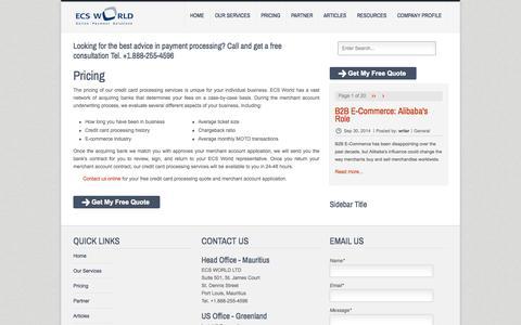 Screenshot of Pricing Page ecs-world.com - ECS World - Merchant Account Pricing - captured Oct. 3, 2014