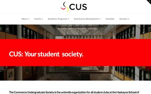 Screenshot of Home Page cuscalgary.ca - Haskayne Commerce Undergraduate Society   The CUS Website! - captured Jan. 23, 2015