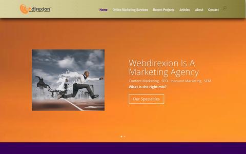 Screenshot of Home Page webdirexion.com - Webdirexion   Content Marketing  SEO & SMM   Internet Marketing - captured Oct. 6, 2014