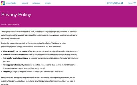 Screenshot of Privacy Page minddistrict.com - Privacy Policy - captured Oct. 22, 2017