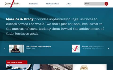Screenshot of Home Page quarles.com - Quarles & Brady LLP — Attorneys at Law - captured Sept. 25, 2014