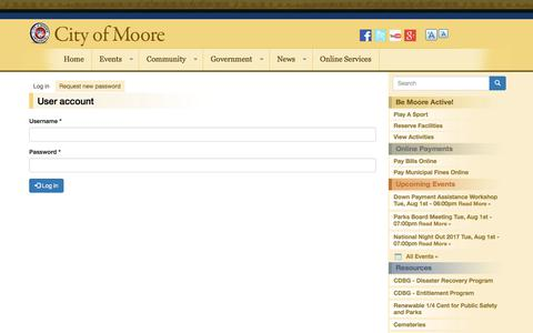 Screenshot of Login Page cityofmoore.com - User account | City of Moore - captured Aug. 1, 2017