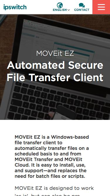 Screenshot of Trial Page  ipswitch.com - MOVEit EZ - Secure File Transfer Client - Ipswitch