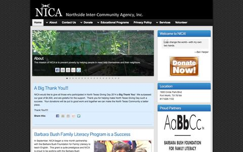 Screenshot of Home Page nicaagency.org - NICA » Northside Inter-Community Agency, Inc. - captured Oct. 7, 2014