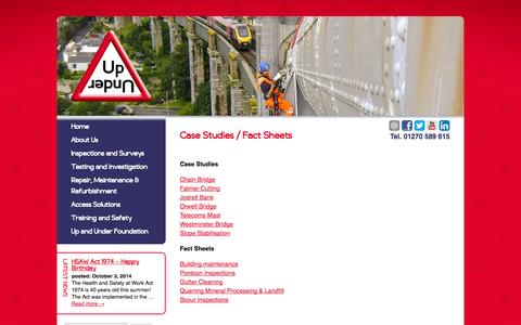 Screenshot of Case Studies Page upandundergroup.com - Case Studies / Fact Sheets - The Up and Under Group - captured Oct. 9, 2014