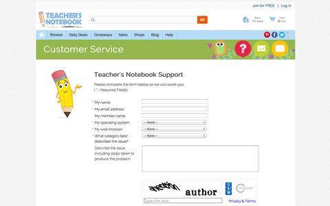 Screenshot of Support Page teachersnotebook.com - Customer Service   - captured Sept. 22, 2014