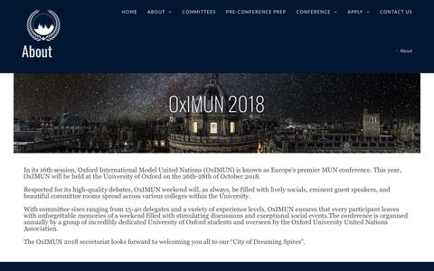 Screenshot of About Page oximun.org - About – OxIMUN - captured Oct. 18, 2018