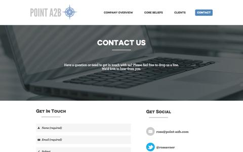 Screenshot of Contact Page point-a2b.com - Point A2B - Contact - captured Sept. 30, 2014